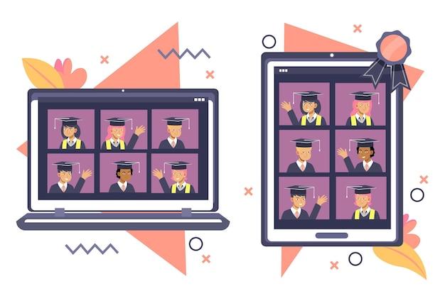 Virtuelle abschlussfeier auf digitalen geräten