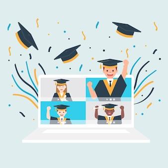 Virtuelle abschlussfeier mit klassenkameraden