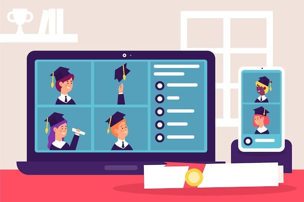 Virtuelle abschlussfeier mit studenten
