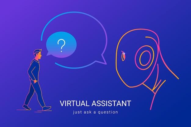 Virtuelle assistent- und spracherkennungskonzeptvektorillustration von leuten, die ai oder roboter fragen