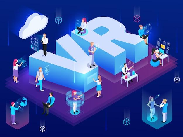 Virtuelle augmented reality 360 grad isometrische zusammensetzung von menschen mit high-tech-piktogramm und text vektor-illustration
