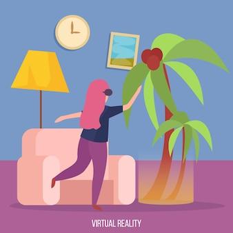 Virtuelle augmented-reality-erfahrung orthogonaler hintergrund mit junger dame in vr-brille, die unter palmenvektorillustration tanzt