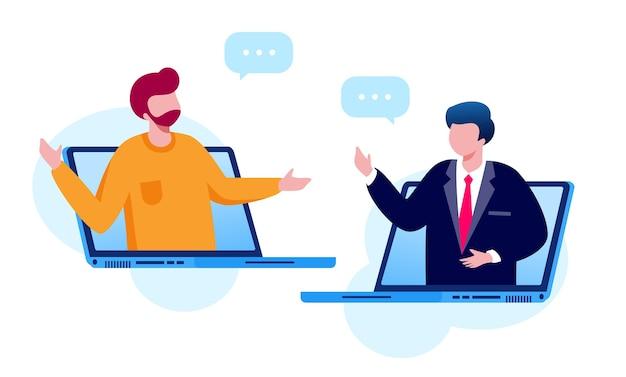Virtuelle besprechungsillustration
