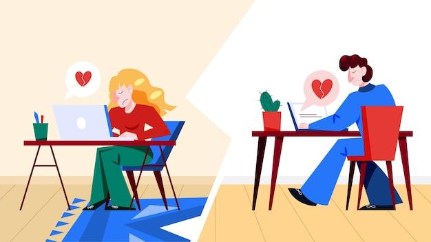 Virtuelle beziehung und liebesdialog. kommunikation zwischen menschen über das netzwerk. perfekte übereinstimmung. illustration