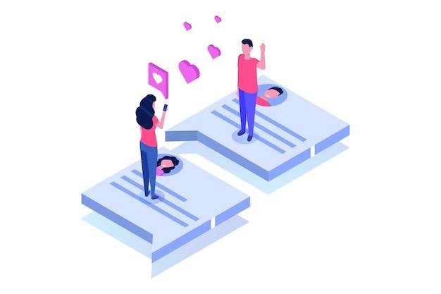 Virtuelle beziehungen, online-dating, social-networking-konzept.