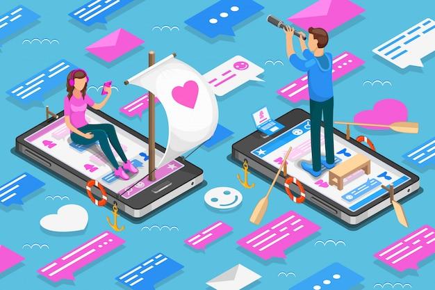 Virtuelle beziehungen und isometrisches online-dating-konzept. jugendliche suchen ein paar in sozialen netzwerken. illustration