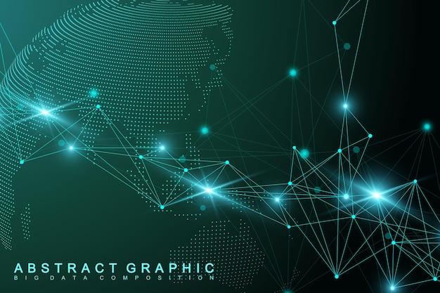 Virtuelle grafische abstrakte hintergrundkommunikation mit weltkugel. perspektive hintergrund der tiefe. digitale datenvisualisierung. vektor-illustration