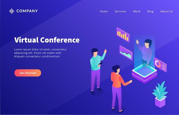 Virtuelle konferenz mit hologramm-technologie-zukunft für website-vorlage oder landing-homepage