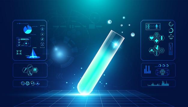 Virtuelle laborgesundheit und glasröhre der abstrakten gesundheitsmedizin