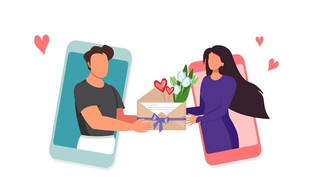 Virtuelle liebe und geschenke aus der ferne männer und frauen senden nachrichten über die anwendung auf einem telefon