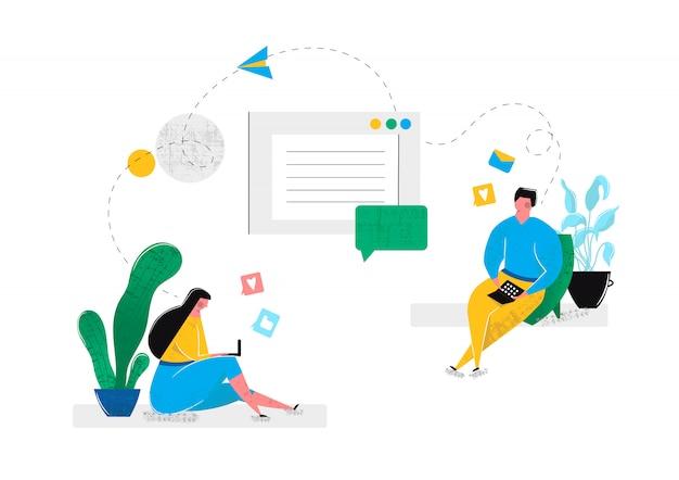 Virtuelle online-beziehungen in chaträumen von sozialen netzwerken im internet. mann und frau stehen auf laptop miteinander in verbindung, zu hause sitzend. virtuelle realität im internet. vektor-illustration