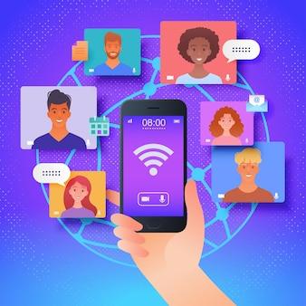 Virtuelle online-kommunikation mit kollegen über die vektorillustration der mobilen app-plattform