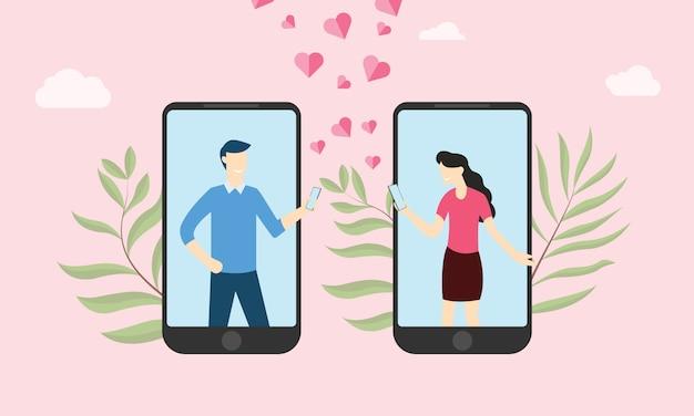 Virtuelle online-liebesbeziehung auf der smartphone-app