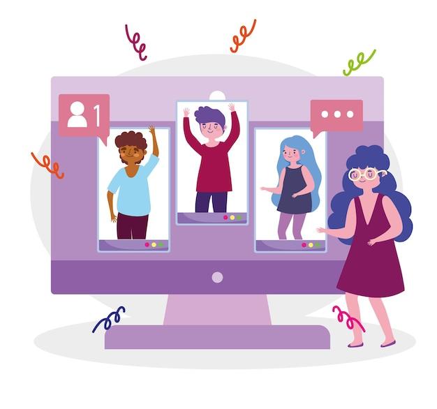 Virtuelle partei, frau mit leuten verbunden durch internet-feierereignisillustration