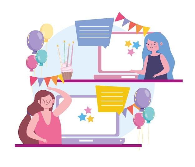 Virtuelle party, frauen online-chat mit der video-app-illustration