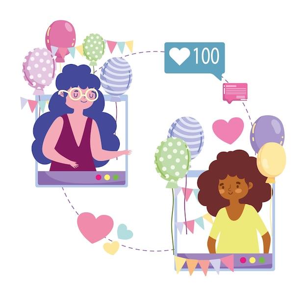 Virtuelle party, frauenfeier party festlich durch internet mit smartphones illustration