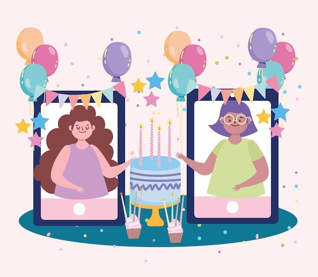 Virtuelle party, mädchen feiern geburtstag, treffen mit freunden illustration