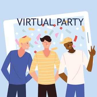 Virtuelle party männer cartoons vor smartphone-design, alles gute zum geburtstag und video-chat