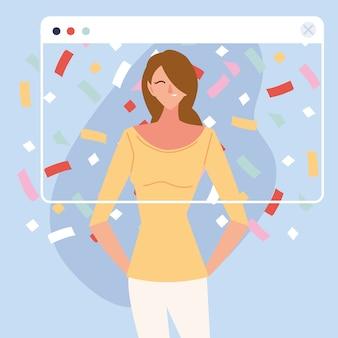 Virtuelle party mit braunem haar frau cartoon und konfetti im bildschirmdesign, alles gute zum geburtstag und video-chat