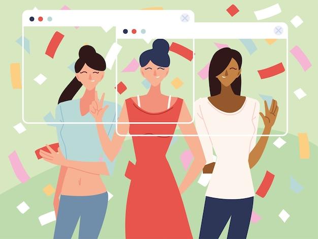 Virtuelle party mit frauen-cartoons und konfetti im bildschirmdesign, alles gute zum geburtstag und video-chat