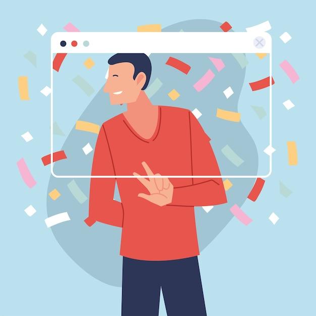 Virtuelle party mit mannkarikatur und konfetti im bildschirmdesign, alles gute zum geburtstag und video-chat