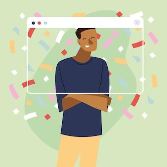 Virtuelle party mit schwarzem mann-cartoon und konfetti im bildschirmdesign, alles gute zum geburtstag und video-chat