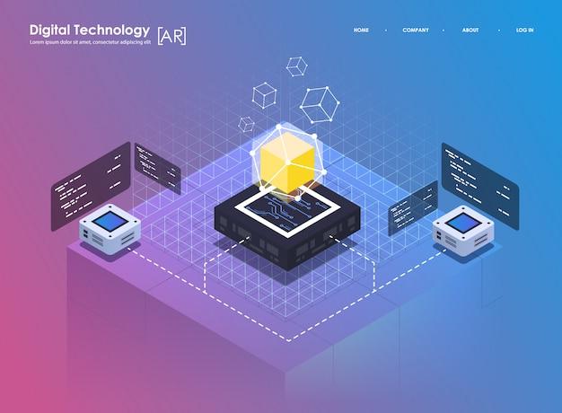 Virtuelle realität des isometrischen konzeptes des entwurfes und vergrößerte realität. ar- und vr-entwicklung. digitale medientechnologie für die website