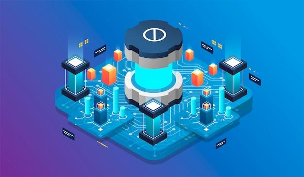 Virtuelle realität des isometrischen konzeptes des entwurfes und vergrößerte realität. softwareentwicklung und programmierung
