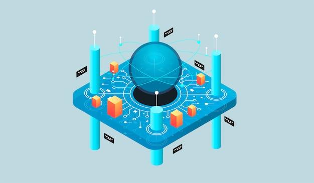 Virtuelle realität des isometrischen konzeptes des entwurfes und vergrößerte realität