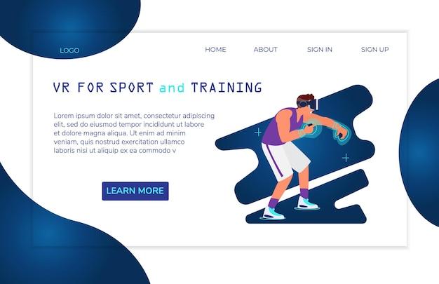 Virtuelle realität für sport und training landing page templateman in vr headset boxing