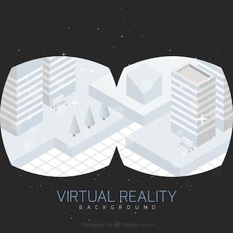 Virtuelle realität hintergrund der geometrischen stadt