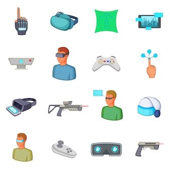 Virtuelle realität icons set