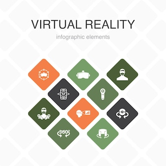 Virtuelle realität infografik 10 option farbdesign.vr-helm, augmented reality, 360°-ansicht, vr-controller einfache symbole