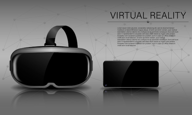 Virtuelle realität, sturzhelm der virtuellen realität und telefon mit reflexion und schatten, horizontale vr-schablone
