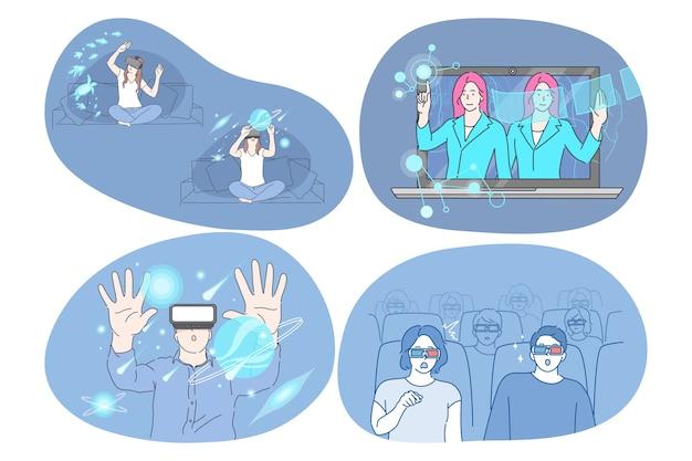 Virtuelle realität und cyberspace durch 3d-brille
