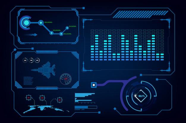 Virtuelle schablone der künstlichen intelligenz der hud-gui-schnittstelle