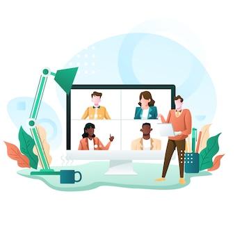 Virtuelle telefonkonferenz eines unternehmensgruppentreffens und illustration von zu hause aus