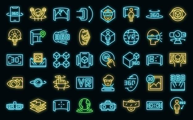 Virtuelle tour-symbole setzen vektor-neon