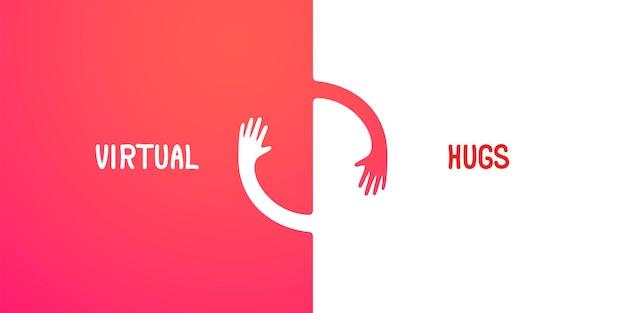 Virtuelle umarmungen einfache abstrakte illustration