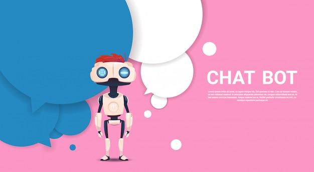 Virtuelle unterstützung des chat-bot-roboters von website oder von mobilen anwendungen, konzept der künstlichen intelligenz
