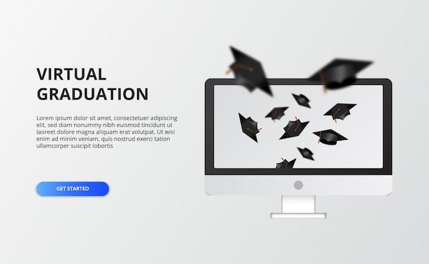 Virtueller abschluss für die quarantänezeit bei covid-19. computerbildschirm mit abschlusskappe fliegen.