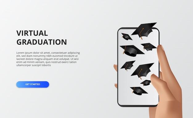 Virtueller abschluss für die quarantänezeit bei covid-19. hand hält telefon mit illustration der fliegenden abschlusskappe. telefon live-streaming abschlussveranstaltung.