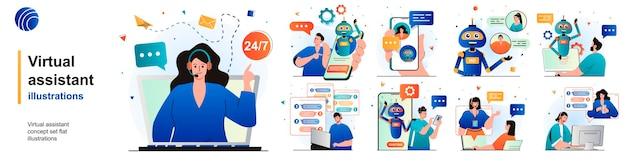 Virtueller assistent isolierter satz benutzeranruf zur hotline-online-chat-bot-unterstützung von szenen in der wohnung