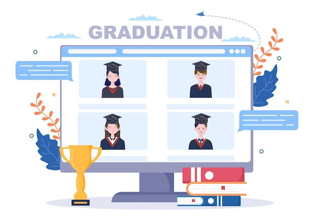 Virtueller online-abschlusstag von studenten, die hintergrundvektorillustration feiern, die ein akademisches kleid, eine absolventenkappe und ein diplom in der kommunikation über video trägt