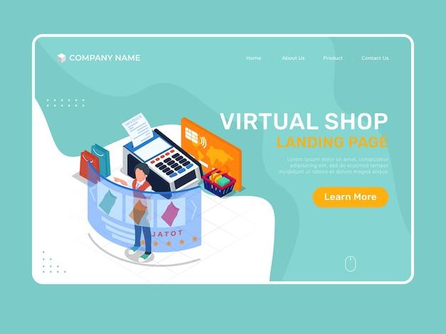 Virtueller online-shop. isometrische landingpage-illustrationsvorlage