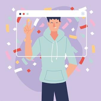 Virtueller party-mann-cartoon mit sportbekleidung und konfetti im bildschirmdesign, alles gute zum geburtstag und video-chat