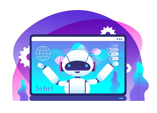 Virtueller support- und mobiler assistenzroboter im laptop