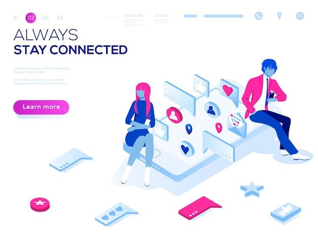 Virtuelles beziehungs-online-dating- und social-networking-illustrationskonzept