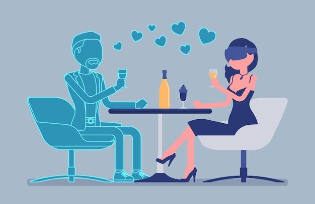 Virtuelles date im restaurant. frau mit vr-headset-treffen mit nicht echtem mann, spielsystem für unterhaltung, computertechnologie für simulierte umgebung. vektorillustration, gesichtslose charaktere