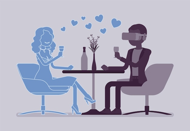 Virtuelles date im restaurant